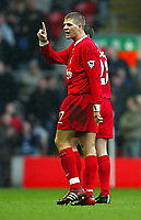 Photo Aidan Ellis.<br />Liverpool v Bolton Wanderers (FA Barclaycard Premiership) 08/03/2003.<br />Liverpool's steven Gerrard makes his point to his own fans after they got on his back