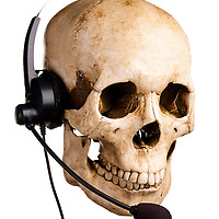 Skull and headset. Customer service.