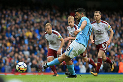 21st October 2017 - Premier League - Manchester City v Burnley - Sergio Aguero of Man City scores their 1st goal with a penalty - Photo: Simon Stacpoole / Offside.