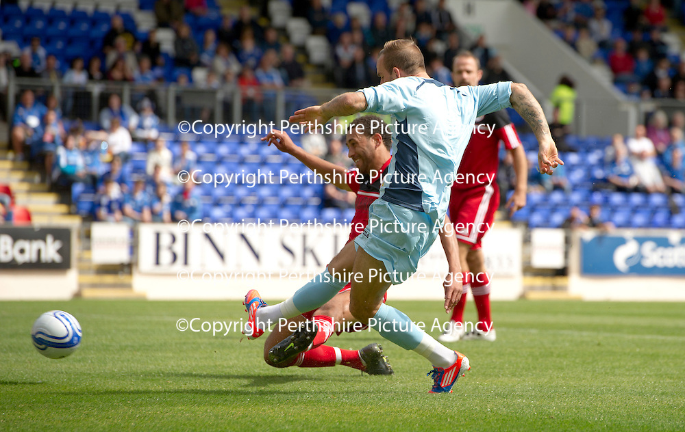 St Johnstone v Bristol City....28.07.12  Pre-Season Friendly<br /> Trialist Rowan Vine scores the first goal<br /> Picture by Graeme Hart.<br /> Copyright Perthshire Picture Agency<br /> Tel: 01738 623350  Mobile: 07990 594431