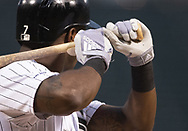 CHICAGO - SEPTEMBER 27:  A detailed view of Adidas batting gloves as worn by Tim Anderson #7 of the Chicago White Sox during the game against the Detroit Tigers on September 27, 2019 at Guaranteed Rate Field in Chicago, Illinois.  (Photo by Ron Vesely)  Subject:   Tim Anderson