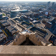 View of Kansas City from top of Power and Light Building during renovation.