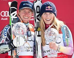 12.03.2010, Kandahar Strecke Herren, Garmisch Partenkirchen, GER, FIS Worldcup Alpin Ski, Garmisch, Men Giant Slalom, im Bild der Gewinner des Riesentorlaufweltcup 2009 2010 Ligety Ted, ( USA ), Ski Rossignol, Ski Head, er Gewinnerin des Gesamtweltcup sowie des Riesenslalom und SuperG Weltcup 2009 2010 Vonn Lindsey, ( USA ), Ski Head, mit ihren beiden Kristallkugelen, EXPA Pictures © 2010, PhotoCredit: EXPA/ J. Groder / SPORTIDA PHOTO AGENCY