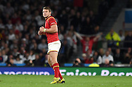 Dan Biggar of Wales celebrates as he watches his late conversion go over the posts which secures the final points of the match and a Welsh win. Rugby World Cup 2015 pool A match, England v Wales at Twickenham Stadium in London, England  on Saturday 26th September 2015.<br /> pic by  Andrew Orchard, Andrew Orchard sports photography.