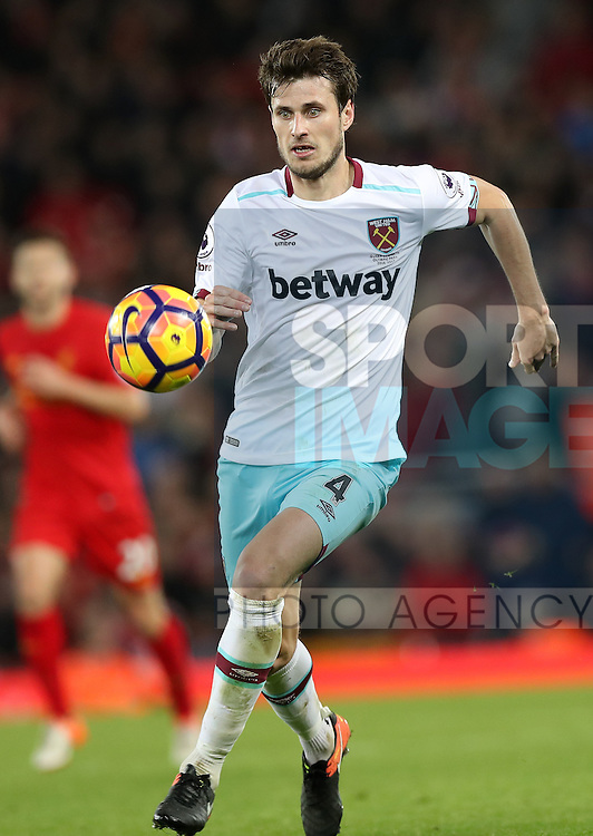 Havard Nordtveit of West Ham United during the Premier League match at Anfield Stadium, Liverpool. Picture date: December 11th, 2016.Photo credit should read: Lynne Cameron/Sportimage