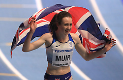 Great Britain's Laura Muir reacts after finishing third in the Women's 3000m final during day one of the 2018 IAAF Indoor World Championships at The Arena Birmingham, Birmingham.