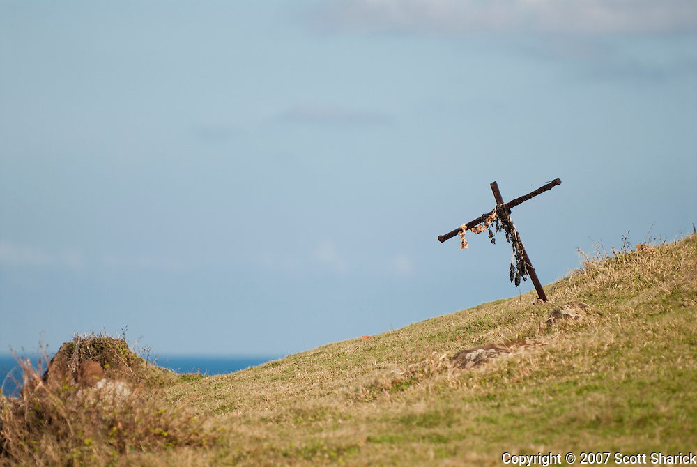 A makeshift memorial cross on a hillside on the island of Maui, Hawaii.