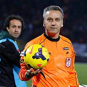 Referee's Mustafa Kamil Abitoglu during their Turkish Super League soccer match Genclerbirligi between Besiktas at the 19 Mayis stadium in Ankara Turkey on Monday, 26 January 2015. Photo by Kurtulus YILMAZ/TURKPIX