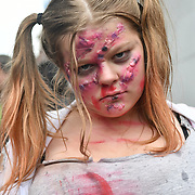 People dresses up Zombie fund raising for Shelter from the Storm - London's only free homeless shelter  in World Zombie Day: London 2018 - TEXT BRNZ57 £3 TO 70070 TO DONATE or read on for more ways to contribute. 6 October 2018.