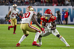 February 2, 2020, Miami Gardens, FL, USA: Kansas City Chiefs wide receiver Tyreek Hill (10) runs the ball as San Francisco 49ers safety Jimmie Ward (20) looks to make the tackle during the second half of Super Bowl LIV at Hard Rock Stadium in Miami Gardens, Fla., on Sunday, Feb. 2, 2020. The Chiefs won, 31-20. (Credit Image: © TNS via ZUMA Wire)