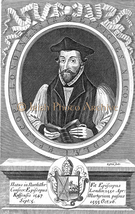 Nicholas Ridley (c1500-55), Bishop of London 1550: English Protestant reformer and martyr burnt with Latimer in front of Balliol College, Oxford. Under Mary I, found guilty of heresy. Copperplate engraving.