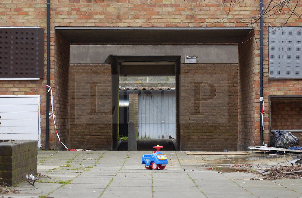 © Licensed to London News Pictures 04/05/2004.A child toy lies abandoned in a passage way of Craylands estate, an impoverished council estate in Basildon, Essex..Basildon, UK.Photo credit: Anna Branthwaite
