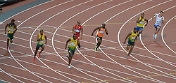 Olympics - London 2012 Olympic Games - 9/8/12.Athletics - Men's 200m - Final - Usain Bolt (JAM) beats Yohan Blake (JAM) with Warren Weir (JAM) making it a Jamaican one two three.© pixathlon