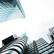 Abstract composition formed by buildings of the city of london seen from below.