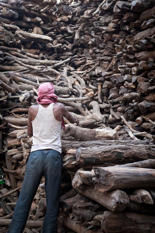 A man sorts out a pile of firewood near Manikarnika cremation ground, Varanasi, India. Photo ©robertvansluis.com