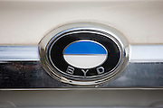 BYD logo, car manufacturers (similar in appearance to BMW logo), Xian, China