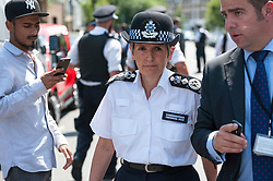 © Licensed to London News Pictures. 19/06/2017. MET Police commissioner CRESSIDA DICK is seen leaving Finsbury Park  mosque following a meeting with faith and community leaders.  The head of London's police visited the mosque after a van was used to run down members of the muslim community as they finished taraweeh, Ramadan evening prayers. Photo credit: Guilhem Baker/LNP