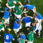 The Italian team drive forward at the breakdown during the Ireland V Italy Pool C match during the IRB Rugby World Cup tournament. Otago Stadium, Dunedin, New Zealand, 2nd October 2011. Photo Tim Clayton...