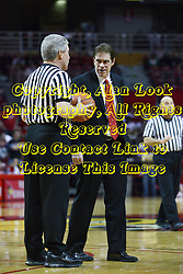 12 February 2011: Referee Eric Curry and Tim Jankovich have a talk at a time out during an NCAA Missouri Valley Conference basketball game between the Missouri State Bears and the Illinois State Redbirds at Redbird Arena in Normal Illinois.