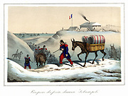 Crimean War (Russo Turkish War)  1853-1856: Siege of Sebastopol, October 1854 to September 1855. French mule train evacuating the wounded. Italian hand-finished lithograph c1857.