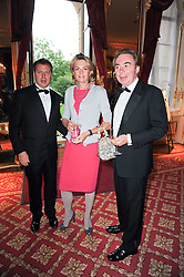 Left to right, MATTHEW FREUD, LORD & LADY ANDREW LLOYD WEBBER at a dinner hosted by HRH Prince Robert of Luxembourg in celebration of the 75th anniversary of the acquisition of Chateau Haut-Brion by his great-grandfather Clarence Dillon held at Lancaster House, London on 10th June 2010.