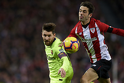 February 10, 2019 - Bilbao, Vizcaya, Spain - Lionel Messi of Barcelona and Markel Susaeta of Athletic battle for the ball during the week 23 of La Liga between Athletic Club and FC Barcelona at San Mames stadium on February 10 2019 in Bilbao, Spain. (Credit Image: © Jose Breton/NurPhoto via ZUMA Press)