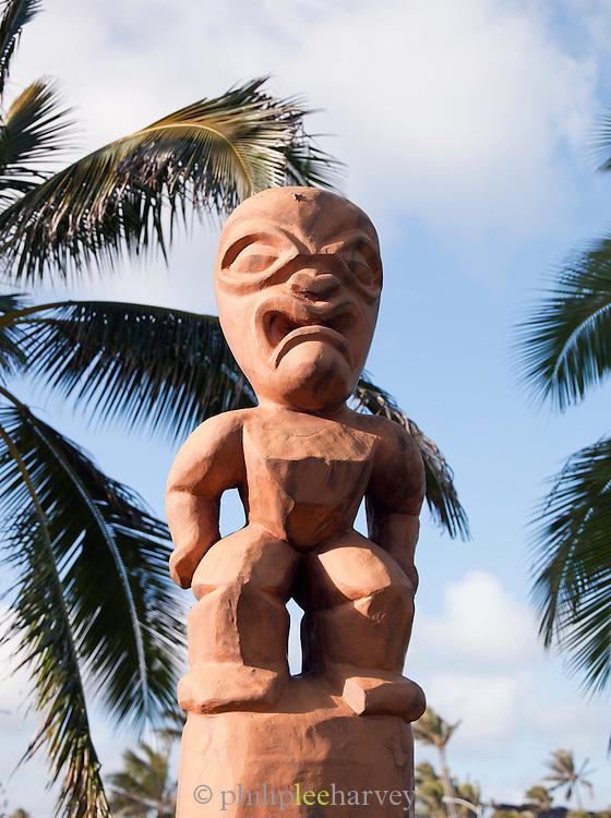A Tiki carving at Laie, O'Ahu, Hawaii