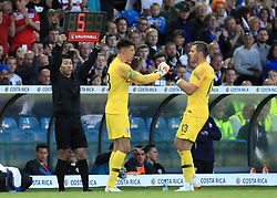 England's Jack Butland (left) is substituted for team-mate Nick Pope during the International Friendly match at Elland Road, Leeds.