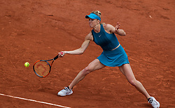 May 30, 2018 - Paris, Ile-de-France, France - Elina Svitolina of Ukraine returns the ball to Viktoria Kozmova of Slovakia during the second round at Roland Garros Grand Slam Tournament - Day 4 on May 30, 2018 in Paris, France. (Credit Image: © Robert Szaniszlo/NurPhoto via ZUMA Press)