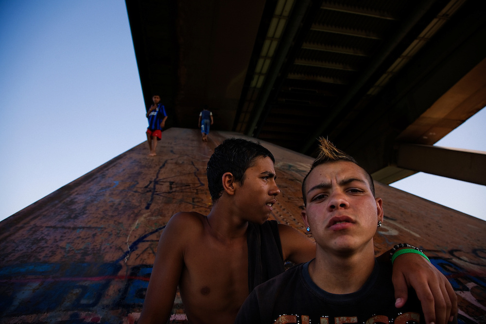Stojan, right, and friends hanging out on the foundation of the Gazela bridge over the Sava River.