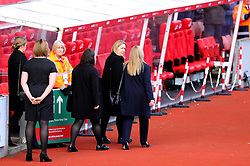 The family of Gordon Banks arrive at the stadium as they await the arrival of the funeral cortege at the bet365 Stadium, Stoke.