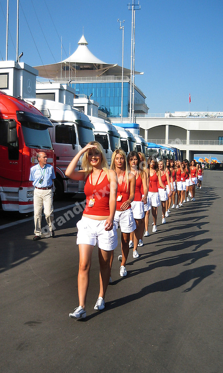 The grid girls in the paddock before the 2006 Turkish Grand Prix in Istanbul Park. Photo: Grand Prix Photo