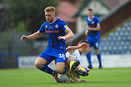 Callum Camps is challenged during the EFL Sky Bet League 1 match between Rochdale and Gillingham at Spotland, Rochdale, England on 15 September 2018.