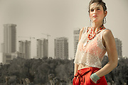Trendy woman outdoors red and white clothes