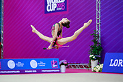 Usmanova Nurinisso during qualification at the clubs in Pesaro World Cup in 2018. Nurinisso was born in Uzbekistan Samarkand region in 200.