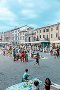 ITALY, RIMINI, Piazza Cavour during a market for kids