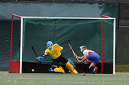 Bogdana Sadovaia of Russia scores her teams 1st goal. Wales v Russia, semi final,  EuroHockey 11 Women's championshp 2017 in Cardiff, South Wales , Friday 11th August 2017<br /> pic by Andrew Orchard