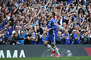 Chelsea midfielder Eden Hazard (10) celebrates his goal during the Premier League match between Chelsea and Sunderland at Stamford Bridge, London, England on 21 May 2017. Photo by John Potts.