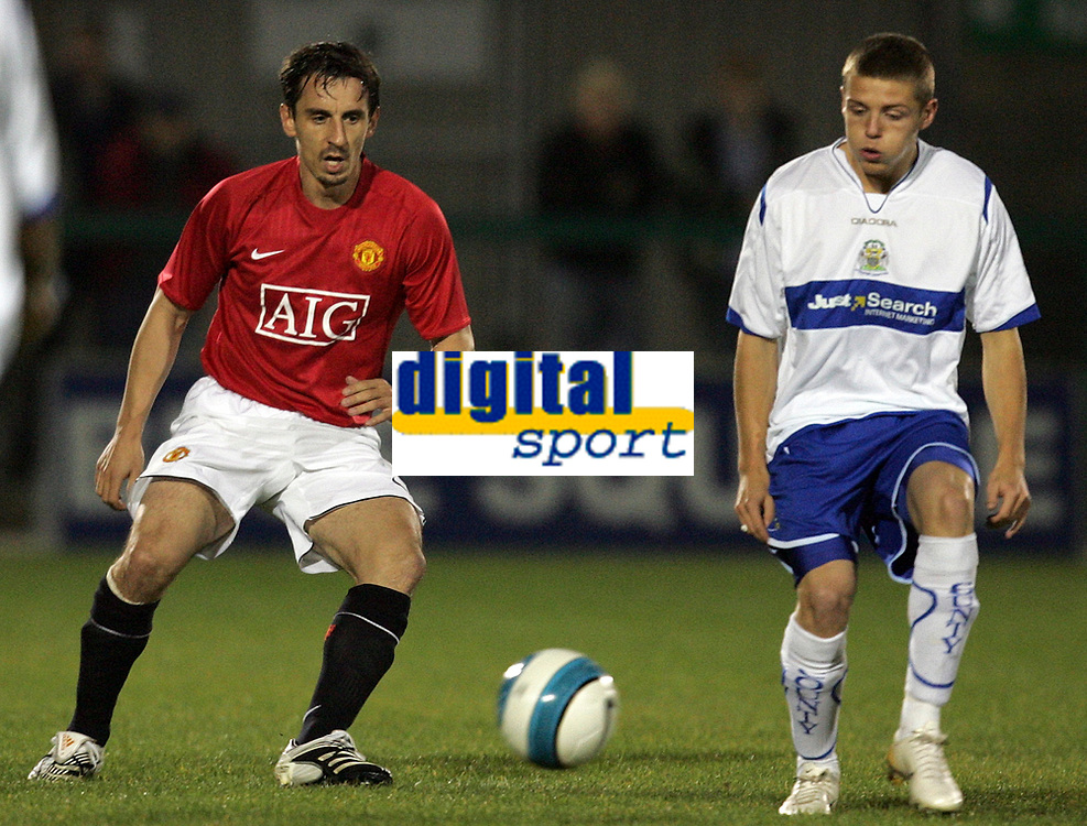 Photo: Paul Thomas.<br /> Manchester United v Stockport County. Manchester Senior Cup. 01/11/2007.<br /> <br /> Gary Neville (L) of Man Utd makes his return from injury in a this reserve game against Stockport.