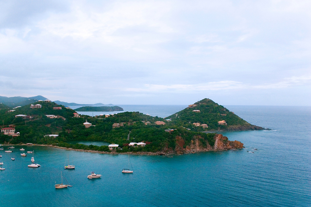 View in St. john Virgin islands overlooking the homes and sea near Chocolate Hole and Devers Bay