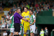 Jamie McAllister (right) and goalkeeper Wayne Hennessy of Yeovil Town are not happy about the ref James Linington's decision to give Reading a penalty during the Skybet championship match, Yeovil Town v Reading at Huish Park in Yeovil on Saturday 31st August 2013. <br /> Picture by Sophie Elbourn, Andrew Orchard sports photography,