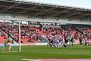 Portsmouth FC forward Brett Pitman (8) goes over the bar with his free kick during the EFL Sky Bet League 1 match between Doncaster Rovers and Portsmouth at the Keepmoat Stadium, Doncaster, England on 25 August 2018.Photo by Ian Lyall.
