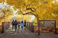 Zion National Park, entrance to Visitor Center, bridge over Virgin River, Utah