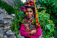 """Women of the Brokpa tribe in the remote Dahanu Valley. The valley is known as the """"Land of the Aryans"""" as the people there are considered the purest descendants of the ancient Indo-Europeans; Ladakh; Jammu and Kashmir State; India."""