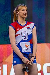 01-10-2017 AZE: Final CEV European Volleyball Nederland - Servie, Baku<br /> Nederland verliest opnieuw de finale op een EK. Servië was met 3-1 te sterk / Brankica Mihajlovic #9 of Servië
