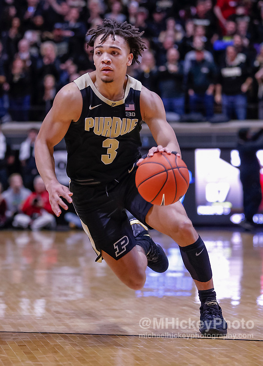 WEST LAFAYETTE, IN - JANUARY 19: Carsen Edwards #3 of the Purdue Boilermakers brings the ball up court during the game against the Indiana Hoosiers at Mackey Arena on January 19, 2019 in West Lafayette, Indiana. (Photo by Michael Hickey/Getty Images) *** Local Caption *** Carsen Edwards