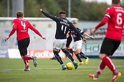 Falkirk's Myles Hippolyte scoring their second goal. Falkirk 2 v 1 Dunfermline, Scottish Championship game played 15/10/2016, at The Falkirk Stadium.