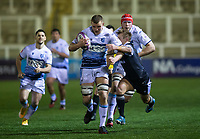 Rugby Union - 2020 / 2021 ERRC Challenge Cup - Newcastle Falcons vs Cardiff Blues - Kingston Park<br /> <br /> Shane Lewis-Hughes of Cardiff Blues is tackled by Sam Stuart of Newcastle Falcons<br /> <br /> COLORSPORT/BRUCE WHITE