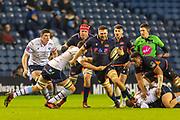 Nick Haining (#6) of Edinburgh Rugby bursts through the Cardiff line during the Guinness Pro 14 2019_20 match between Edinburgh Rugby and Cardiff Blues at BT Murrayfield Stadium, Edinburgh, Scotland on 28 February 2020.