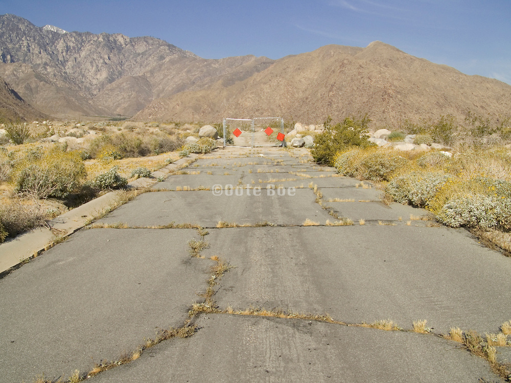 End of the road in a desert landscape. Palm Springs USA.